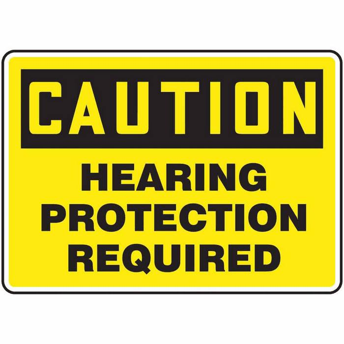 Safety Sign Caution Hearing Protection Required 7 X 10 Plastic from