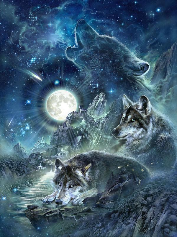 Lunya The Wolf Girl Wallpaper Bark At The Moon By Antonia Neshev Decalgirl