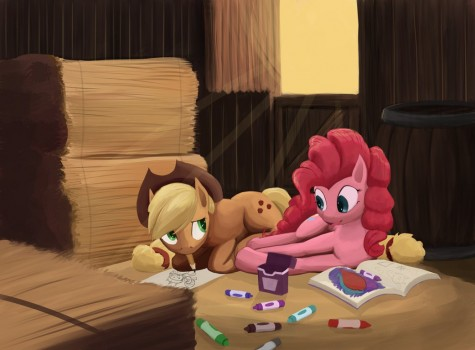 Applejack Draws With Pinkie Pie! by Bakuel
