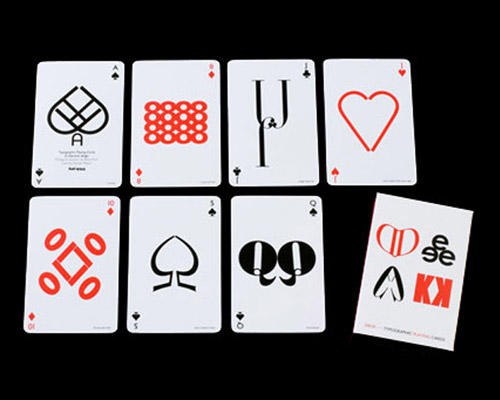 typographic playing cards by hat trick design