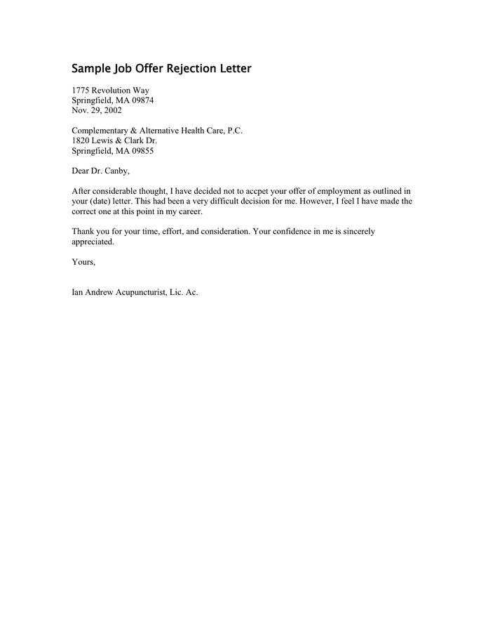 rescind letter sample. employer rescinding job offer letter sample ...
