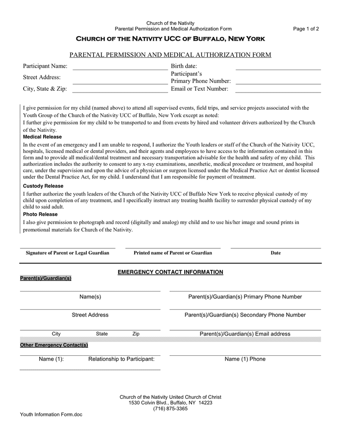 Bsa Medical Form Parts A B C Scoutingorg Permission Slip Template In Word And Pdf Formats