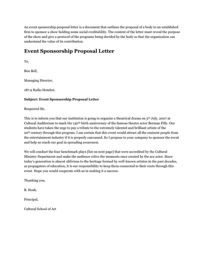 Sponsorship Letter Samples Event 40 Sponsorship Letter Sponsorship Proposal  Templates Of Proposal Letter For Event Management