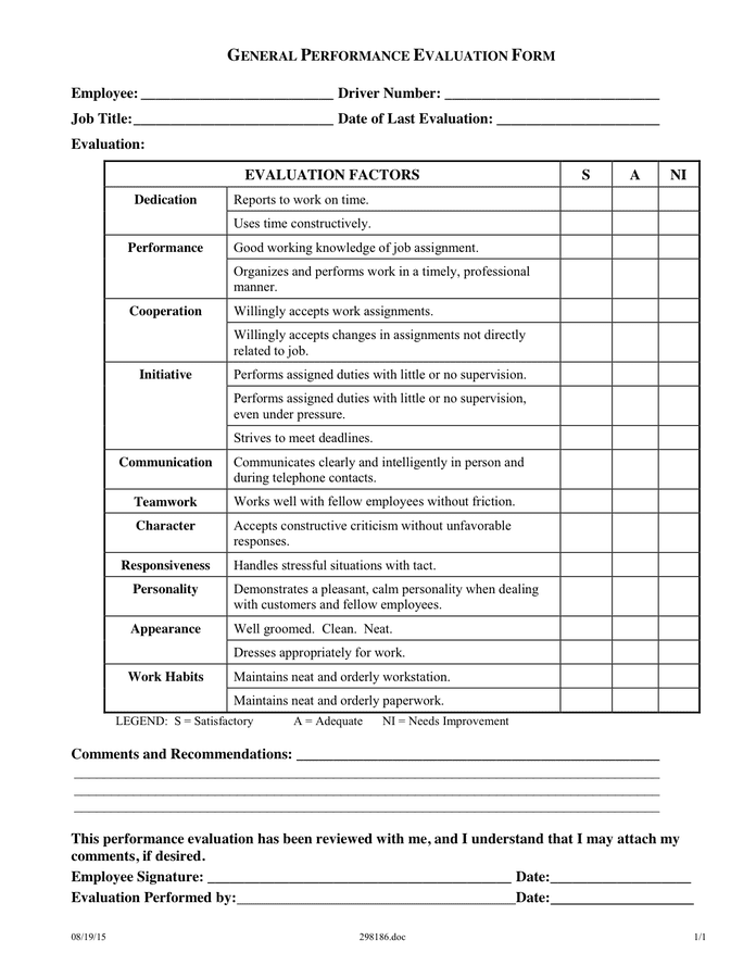 Employee Evaluation Form Performance Review Rocket Lawyer General Performance Evaluation Form In Word And Pdf Formats