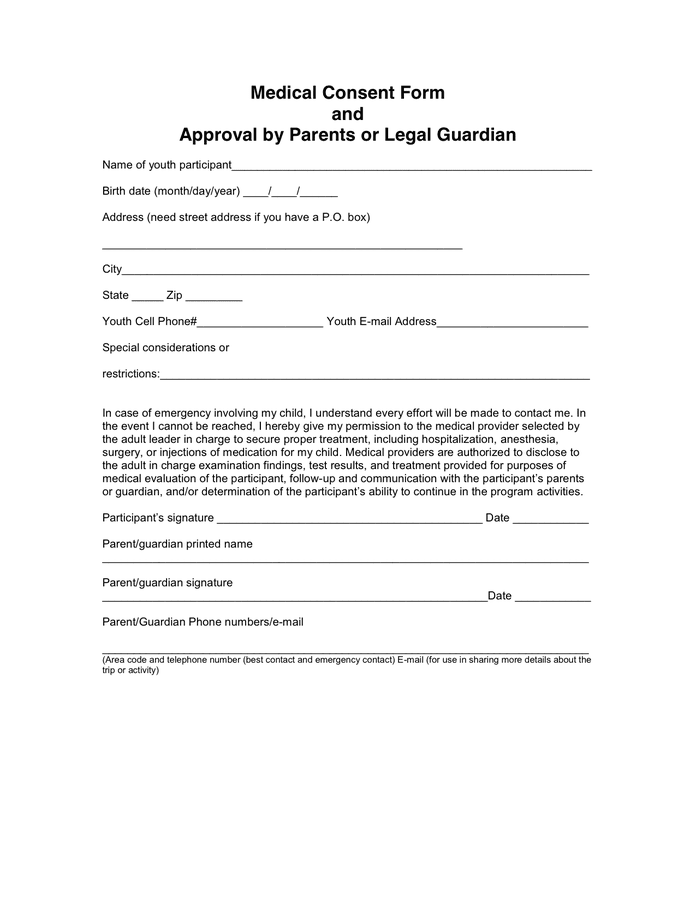 Media Consent Form Template – Medical Consent Forms