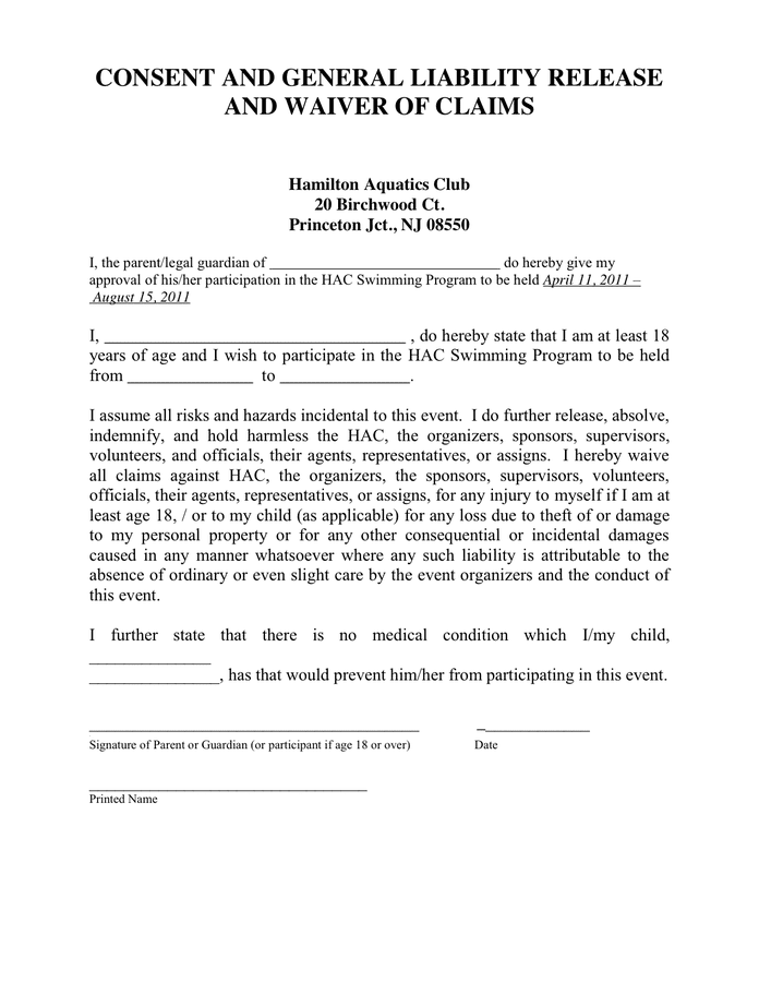 Doc564729 Letter of Release Form Printable Sample Liability – Liability Agreement Sample
