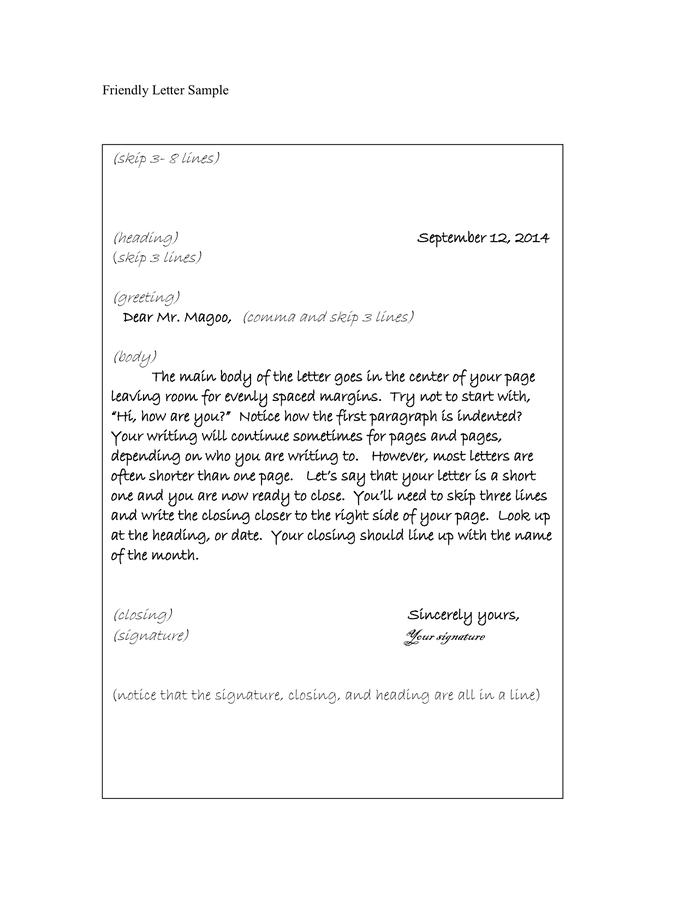 friendly letter sample - Format