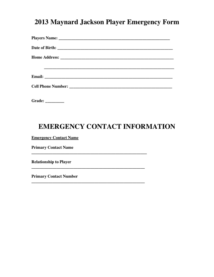 Employee Review Form Fill Online Printable Fillable Sample Emergency Contact Information In Word And Pdf Formats
