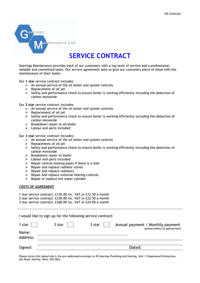maintenance contract sample