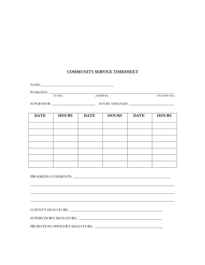Blank Invoice Template Free Microsoft Word Templates Community Service Timesheet Template In Word And Pdf Formats