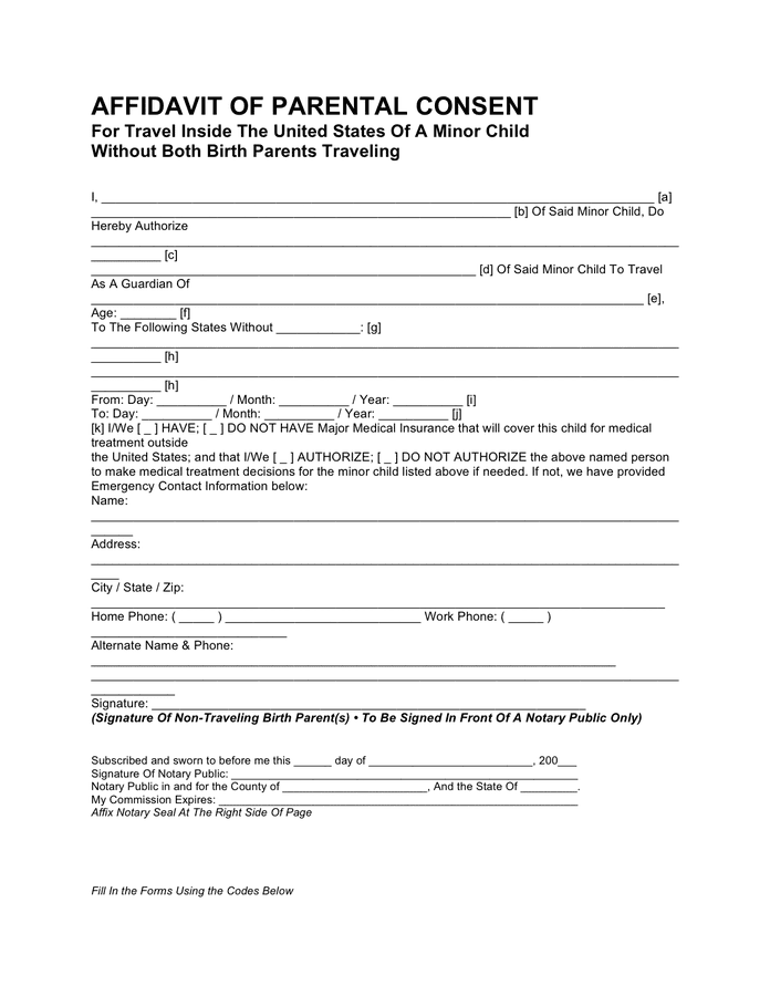Child Travel Consent Form Domestic – Child Travel Consent Form