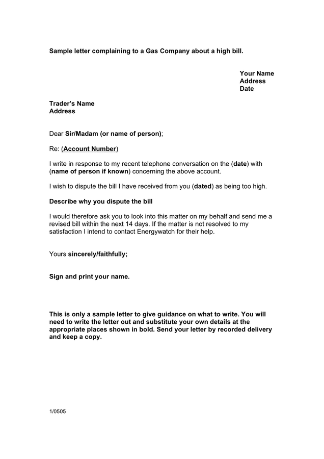 An Example Complaint Letter Scribendi Sample Letter Complaining To Gas Company About A High Bill
