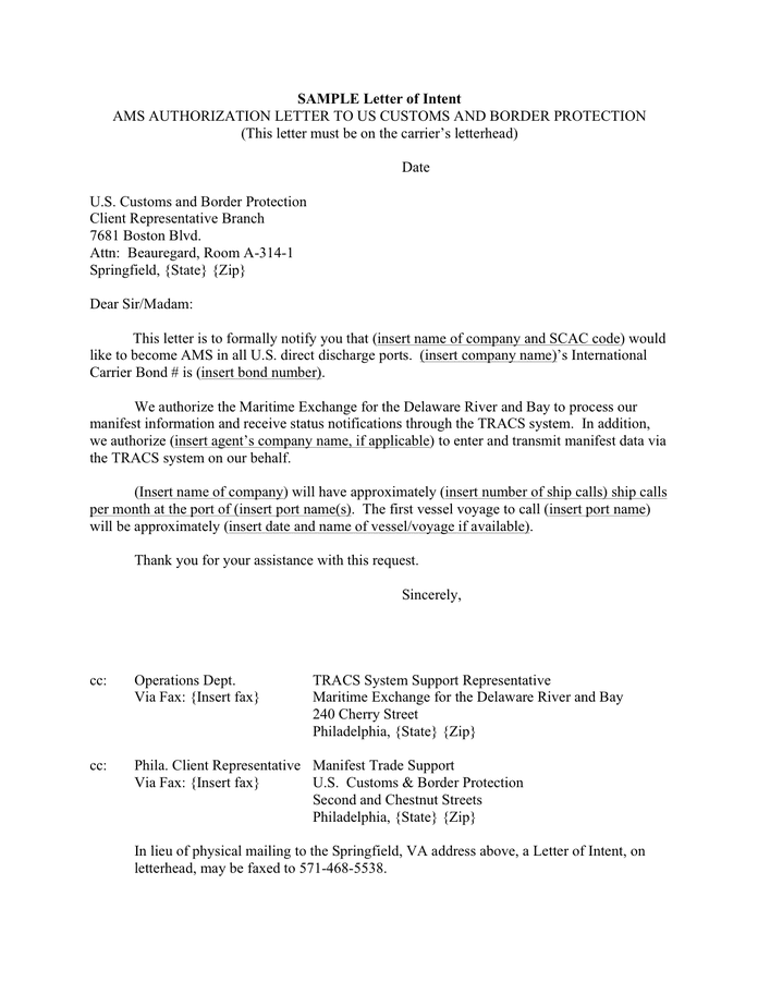 Letter Of Intent Acquisition Of Business Template Sample Ams Authorization Letter To Us Customs And Border