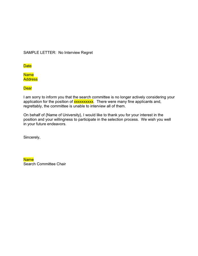 Regret Job Offer Letter Sample Best Resumes Curiculum Vitae And