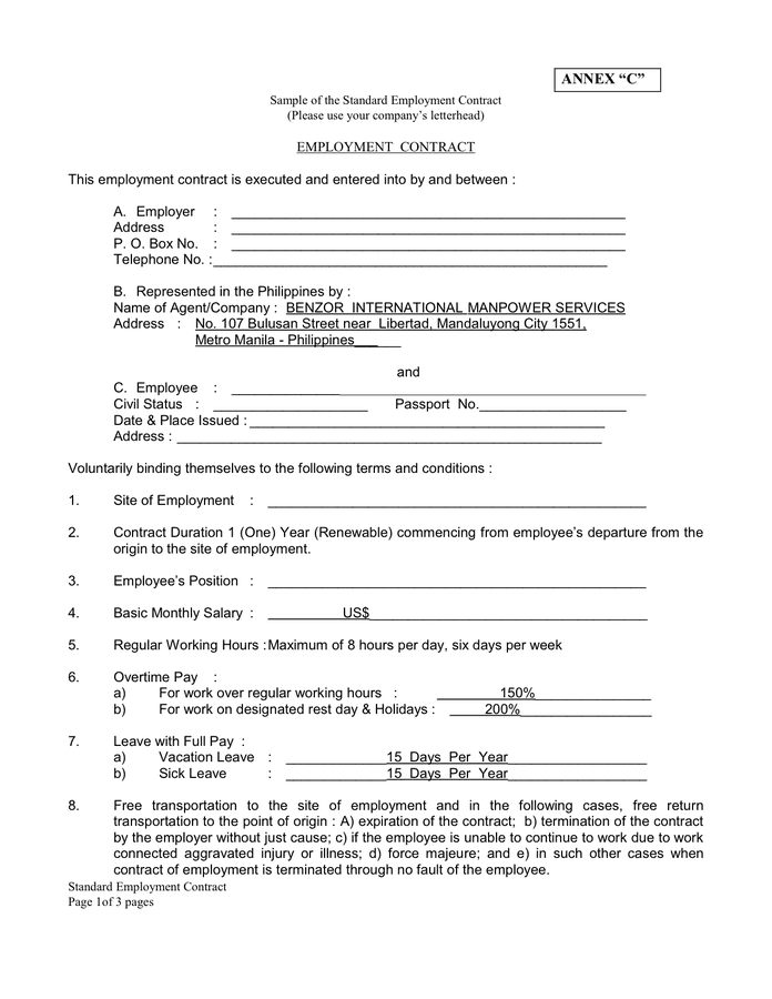 Employment Contract Template Hours Of Work – Employment Contract Template Word