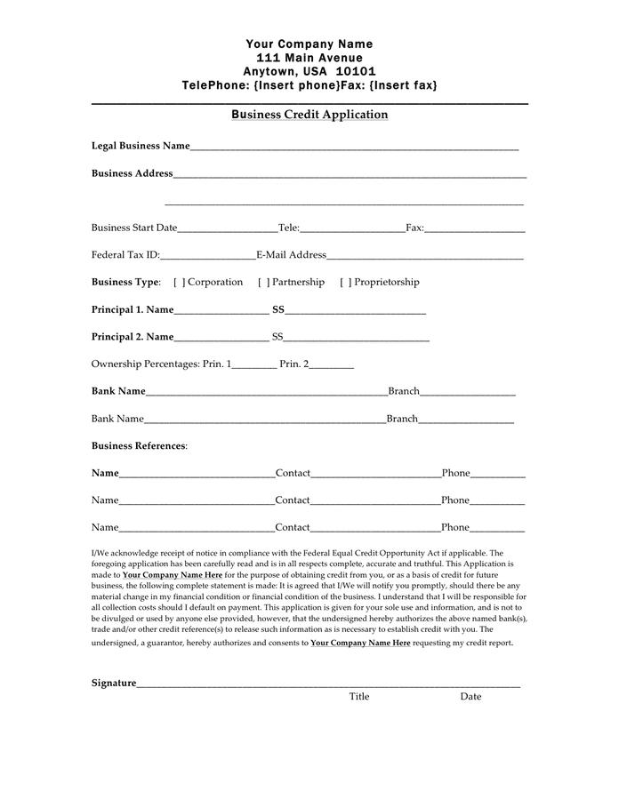 Credit Account Application Form Mila Hardware Credit Application Form Download Free Documents For Pdf