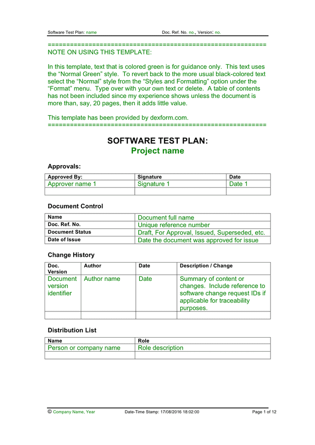 Implementation Plan Template Ms Word Software Test Plan Template In Word And Pdf Formats