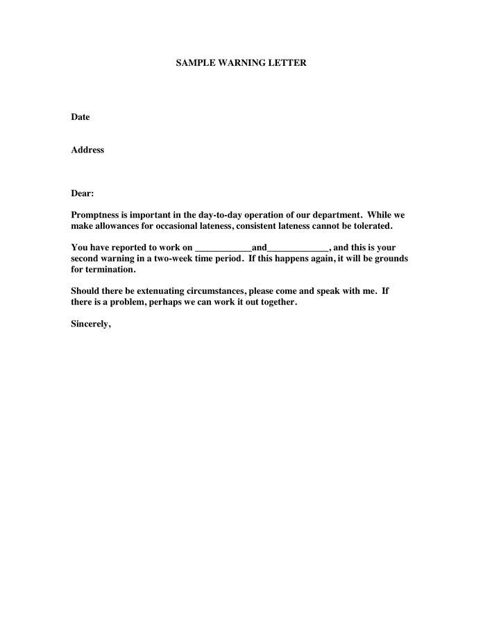 Warning Letter Template For Late Coming - Costumepartyrun