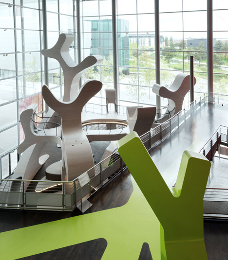 MobiVersum installation by J. Mayer H. creates huge shapes for children to clamber over at Autostadt