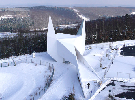 Church by Schneider+Schumacher based on motorway signage looks like Batman
