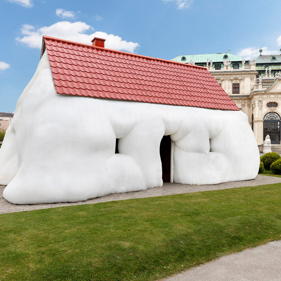 Container Haus Wien Erwin Wurm S Fat House Installed Outside Baroque Palace In Vienna