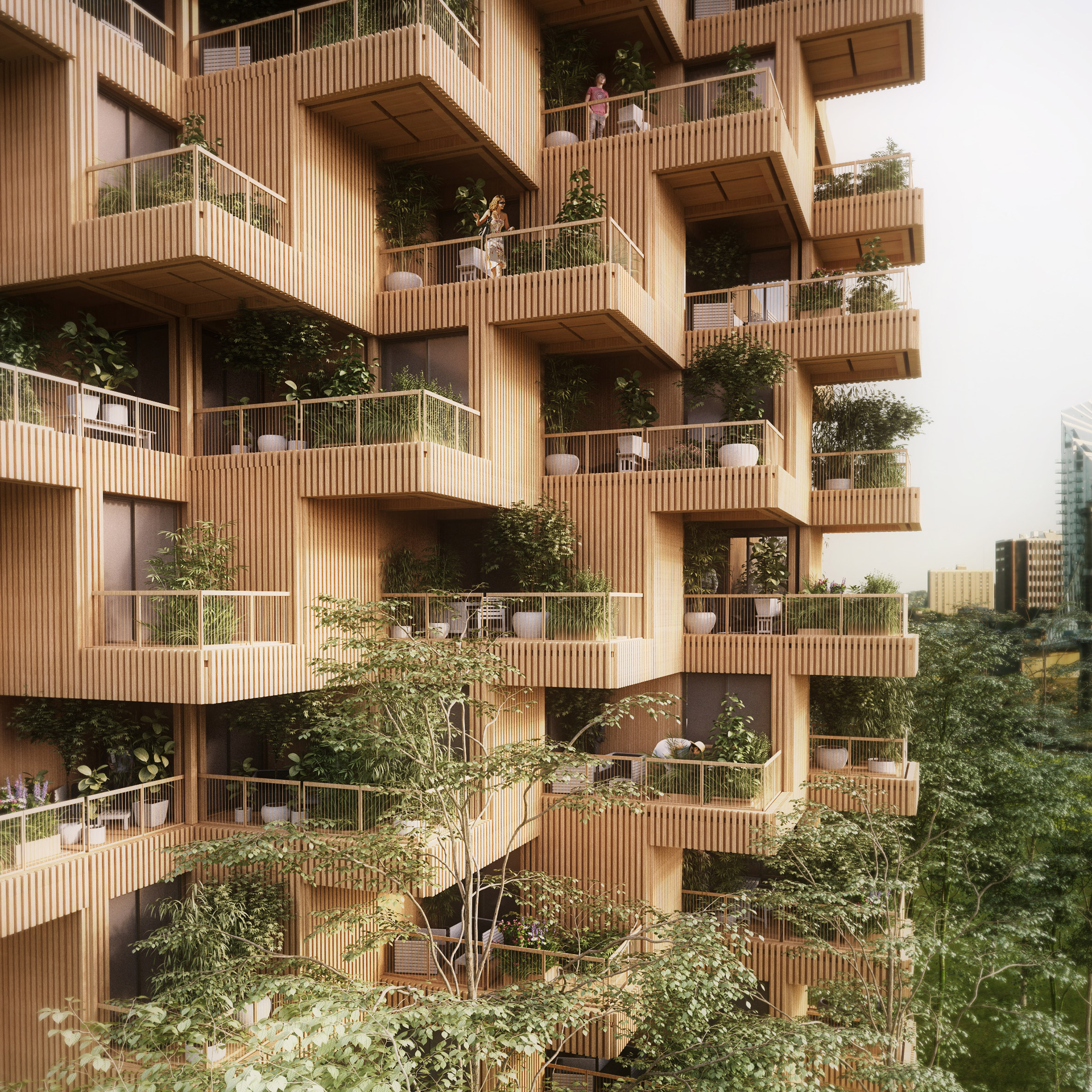 Architectural Design Of Residential Building Penda Proposes Toronto Tree Tower Built From Cross Laminated