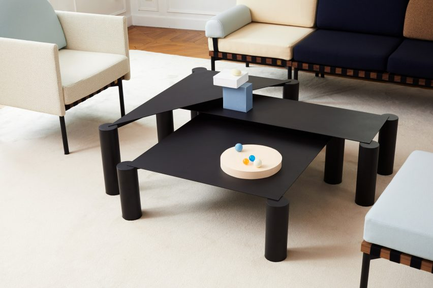 Max Enrich creates nesting coffee tables with bulky legs and slender