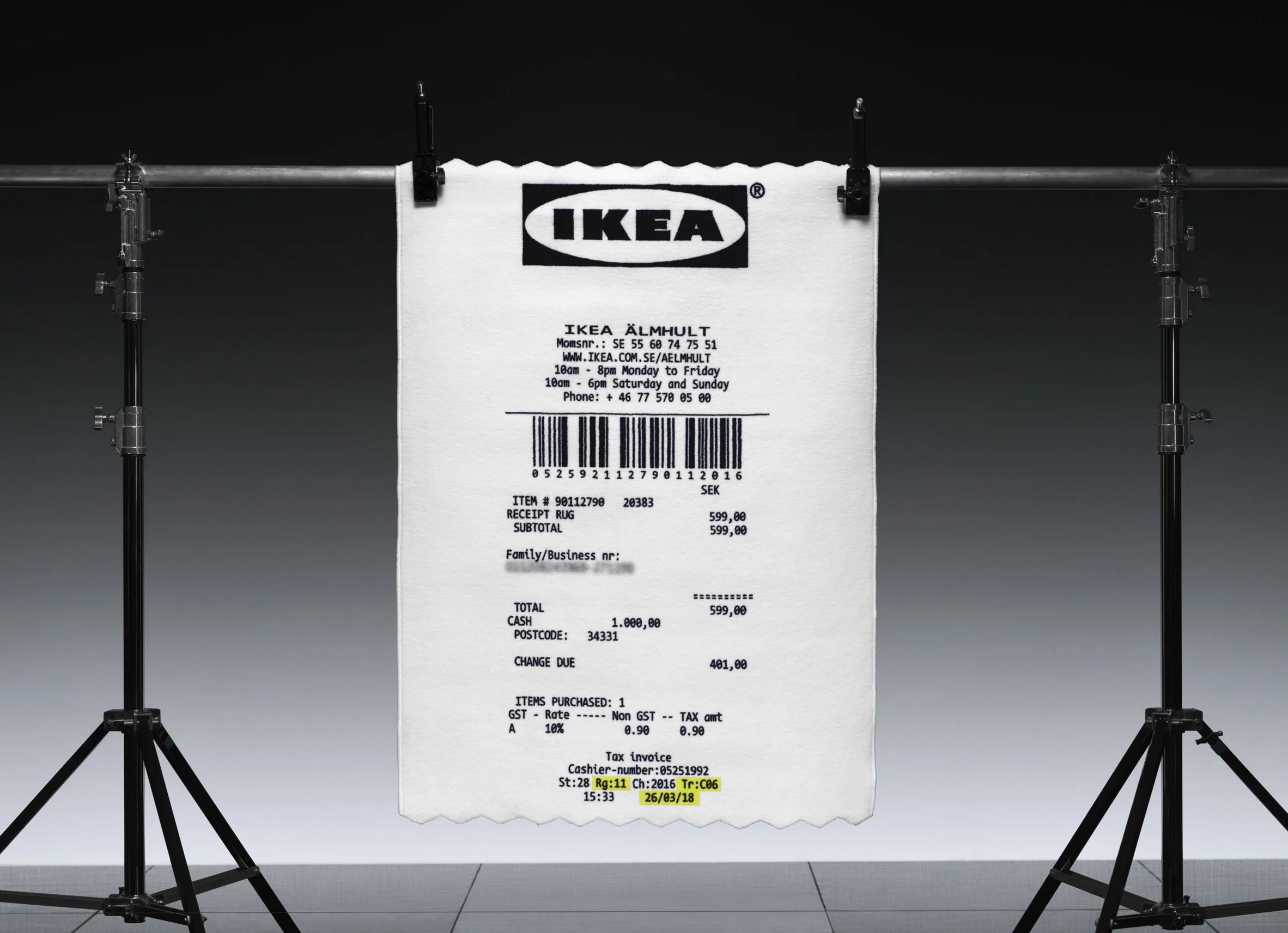 Neon Ikea Virgil Abloh Adds Giant Receipt Rug To Upcoming Ikea Collection
