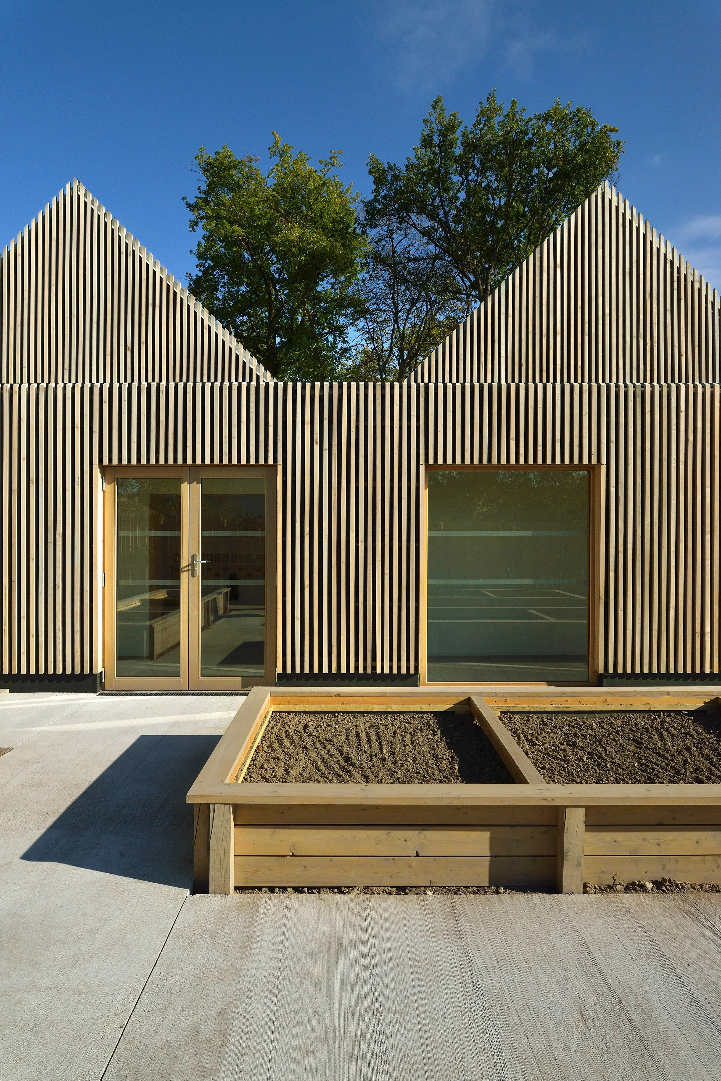 Architecture Architecte Tracks Architectes Designs Timber Clad Gabled Kindergarten La Ruche