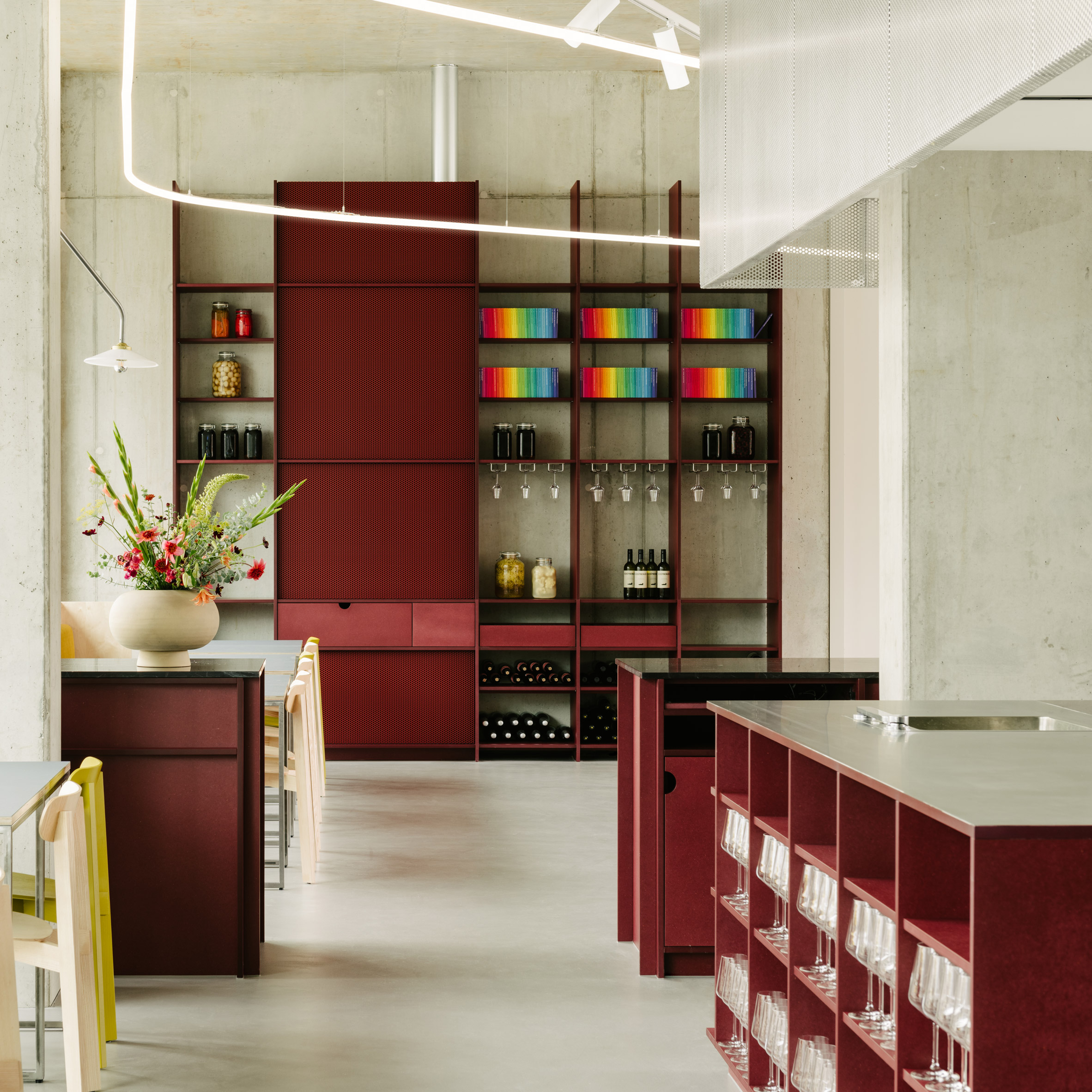 Interior Design Berlin Remi Restaurant In Berlin Is Defined By Cherry-red Joinery