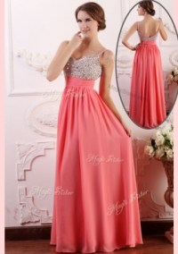 Watermelon Red Colored Prom Dresses - Strapless - Cheap