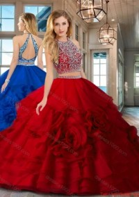 Best Selling Two Piece Open Back Red Quinceanera Dress ...