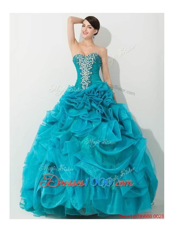 Princess Teal Sweet 16 Dress with Beading and Rolling