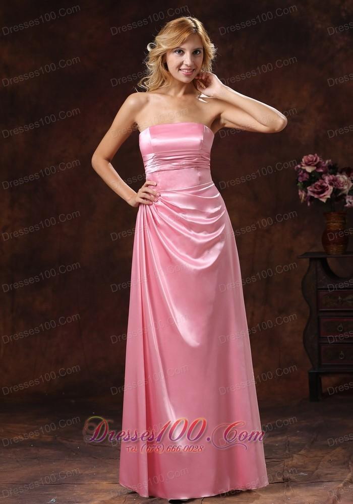 Side Gather Rose Pink Bridesmaid Dress Strapless