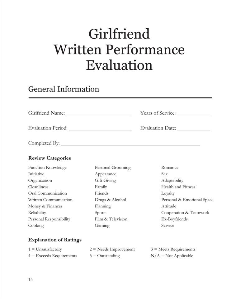 Girlfriend Written Performance Evaluation DudeIWantThat - performance evaluation