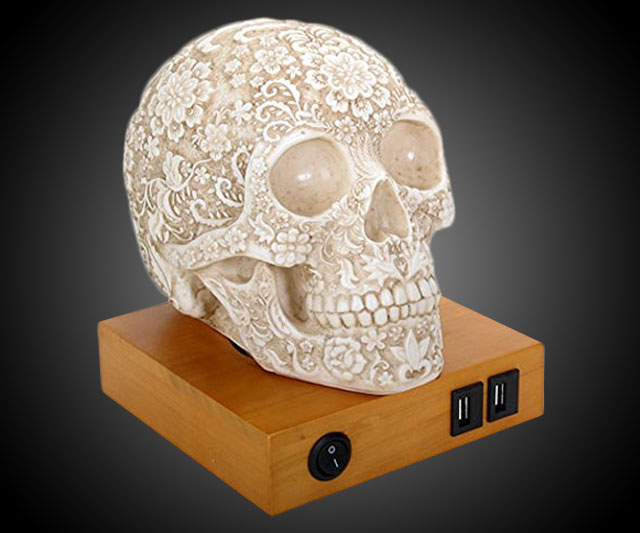 Halloween High Day Of The Dead Lace Skull Lamp | Dudeiwantthat.com