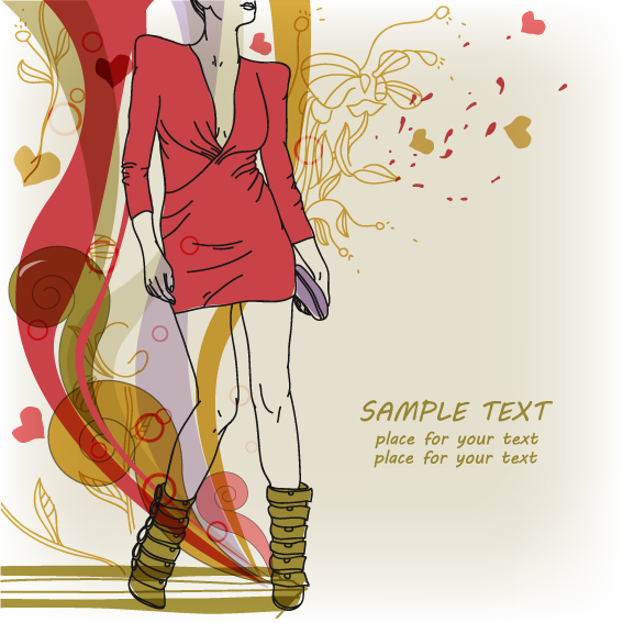 Hand drawn Woman with Fashion art background vector 05 Free download