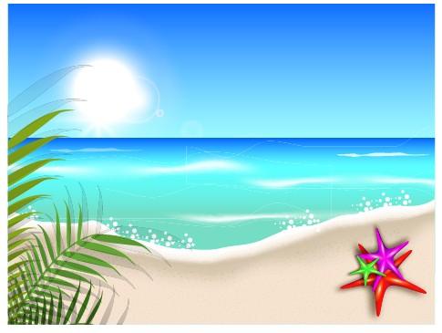 Beautiful Summer beach background 04 vector Free download - summer powerpoint template