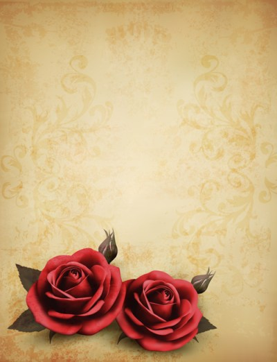 Roses and Vintage background vector 02 | Free download