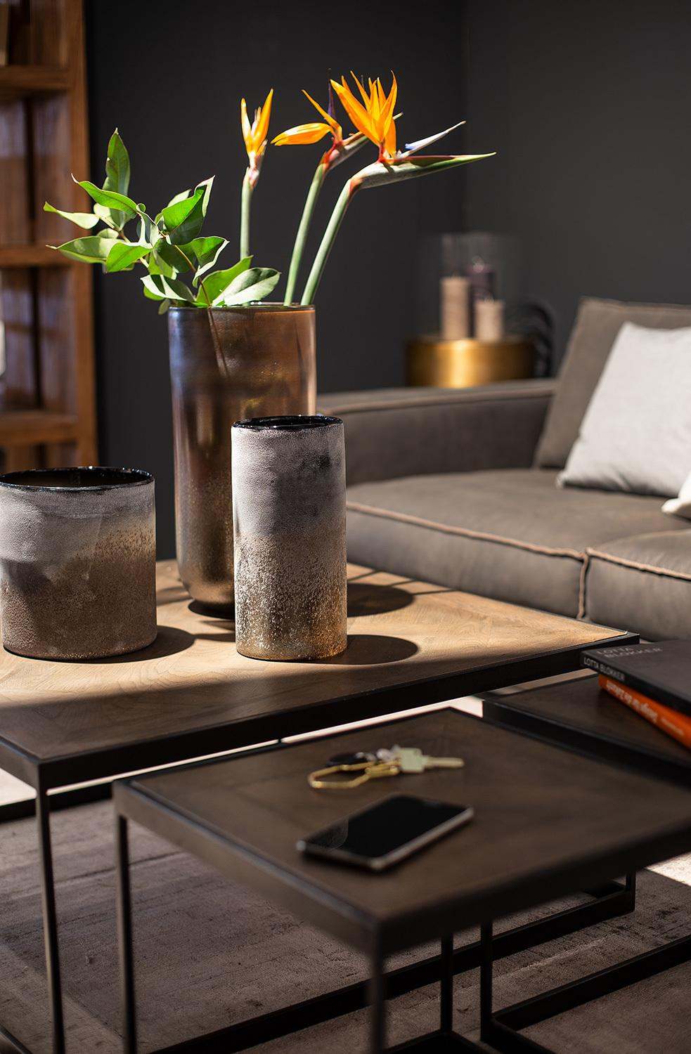 Fleur Ami Hover Coffee Table 85x85 38 Cm Oak Vintage Smoked Exclusive Planters Vases Accents