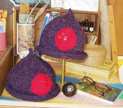 red spot hats, purple