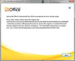 Office 2010 Installation Failure