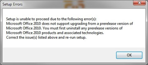 Setup Errors When Installing Office 2010 Beta