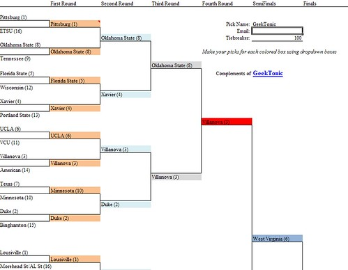 GeekTonic NCAA Basketball Tournament Bracket 2009 Excel Free Download