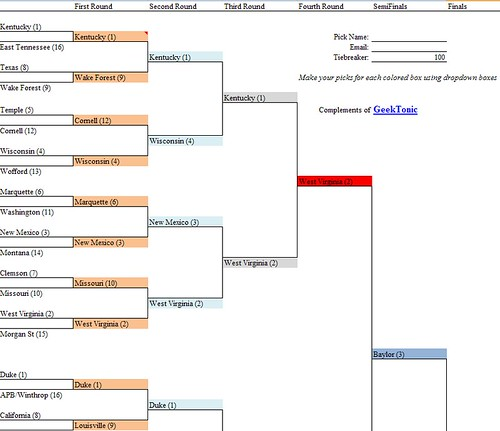 GeekTonic NCAA Basketball Tournament Bracket 2010 Excel Free Download