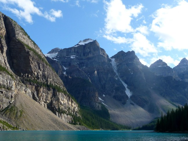 "Some of the ""Ten Peaks"" at Moraine Lake"