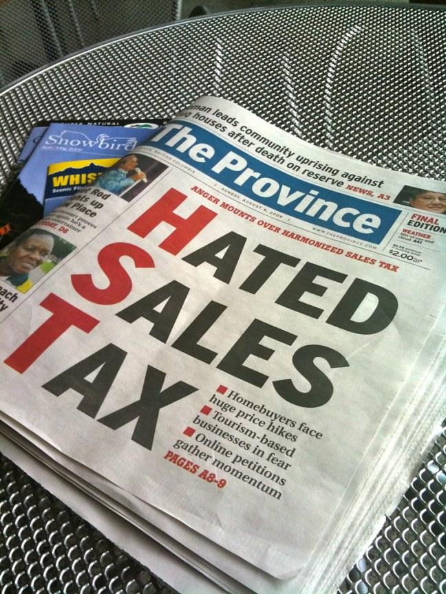 The new Harmonized Sales Tax was the talk of the region