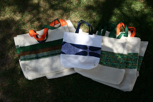 African tote bags in the shadows