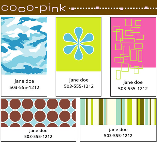 Coco Pink: Punchy Calling Cards for Guys + Dolls