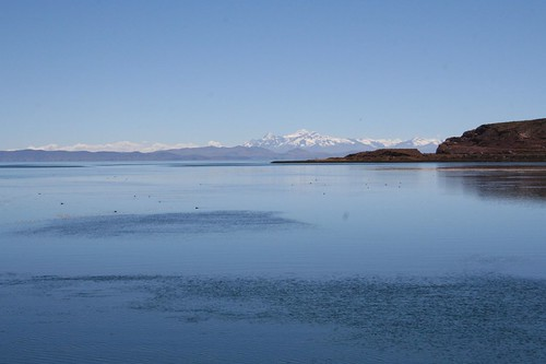 Lake Titicaca with Andes in the background